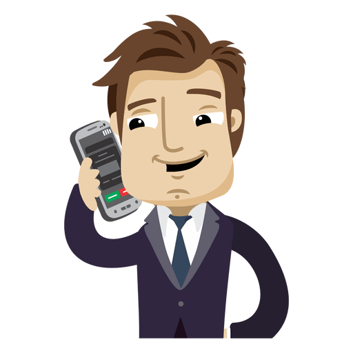 Businessman cartoon talking cellphone Transparent PNG