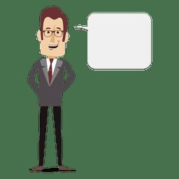 Bolha de texto de empresário dos desenhos animados