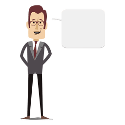 Businessman cartoon text bubble