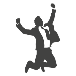 Businessman celebrating success silhouette