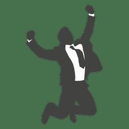 Empresario celebrando silueta de éxito