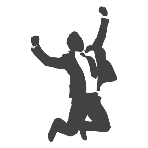 Businessman celebrating success silhouette Transparent PNG