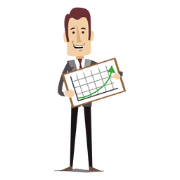 Businessman holding increased chart board