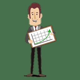 El hombre de negocios que sostiene el aumento de placa diagrama