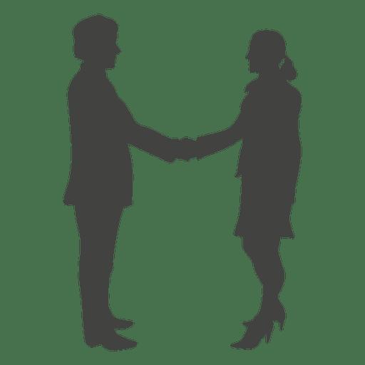Businessman meeting woman silhouette