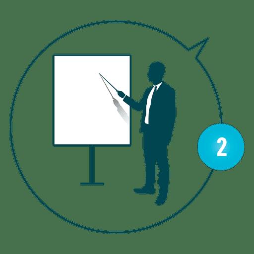 Businessman pointing at presentation board Transparent PNG