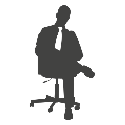 Homem negócios, com, laço, relaxante, ligado, cadeira Transparent PNG