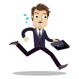 Homem negócios, executando, tarde, caricatura