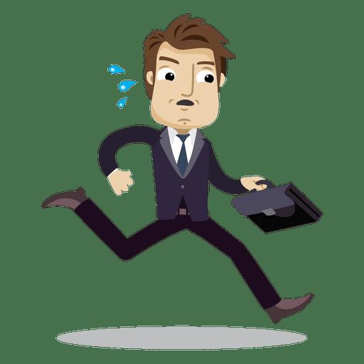 Businessman running late cartoon Transparent PNG