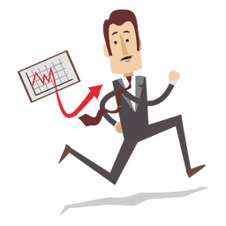 Businessman running with chart board cartoon
