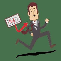Businessman running with chart board cartoon