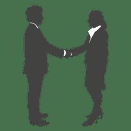 El hombre de negocios dando la mano a la mujer
