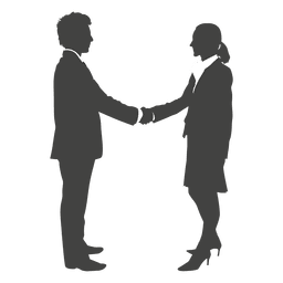 Homem negócios, apertar mão, para, mulher