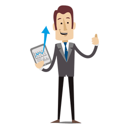 Empresario mostrando dibujos animados de tableta
