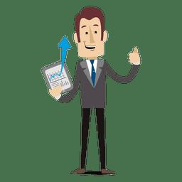 Homem negócios, mostrando, gráfico, tabuleta, caricatura