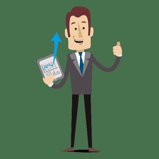 Businessman showing chart tablet cartoon Transparent PNG