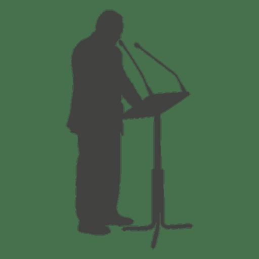Silueta de empresario dando discurso