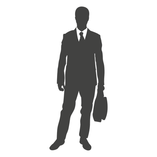 Silhueta de empresário em pé com saco Transparent PNG