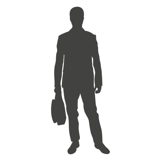 Businessman silhouette with bag - Transparent PNG & SVG vector