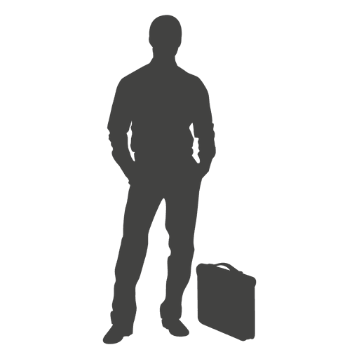 Businessman standing by briefcase Transparent PNG