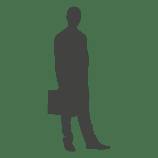 Homem negócios, ficar, silueta, com, pasta Transparent PNG