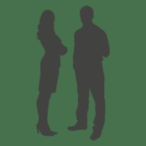 Homem negócios, mulher, ficar, silueta Transparent PNG