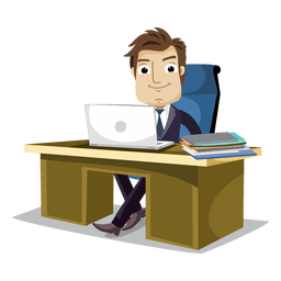 Businessman working at office cartoon