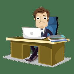 Homem negócios, trabalhando, escritório, caricatura