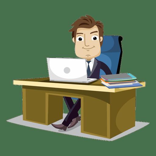 Empresário, trabalhando no cartoon de escritório Transparent PNG
