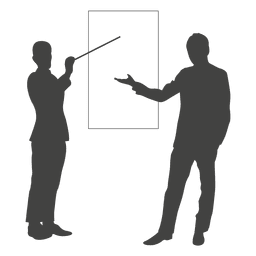 Businessmen presentation board silhouette
