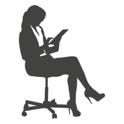 Businesswoman accessing tab on chair