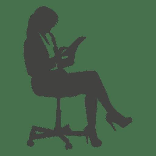 Empresária acessando guia na cadeira Transparent PNG