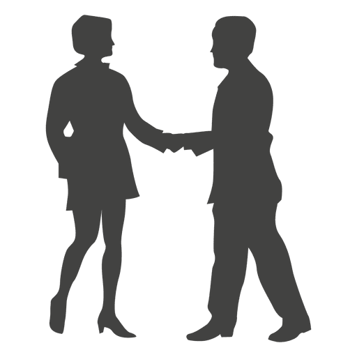 Business woman meeting businessman silhouette ...