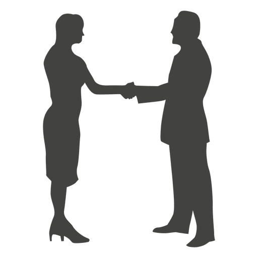 businesswoman meeting businessman silhouette transparent png svg