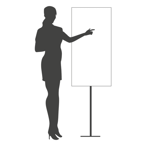 Businesswoman pointing board silhouette Transparent PNG