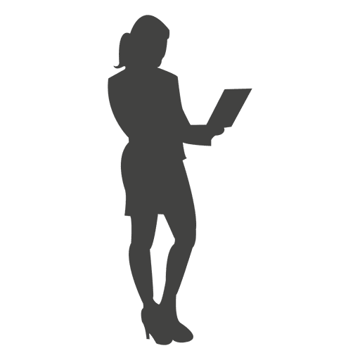 Businesswoman standing with laptop Transparent PNG