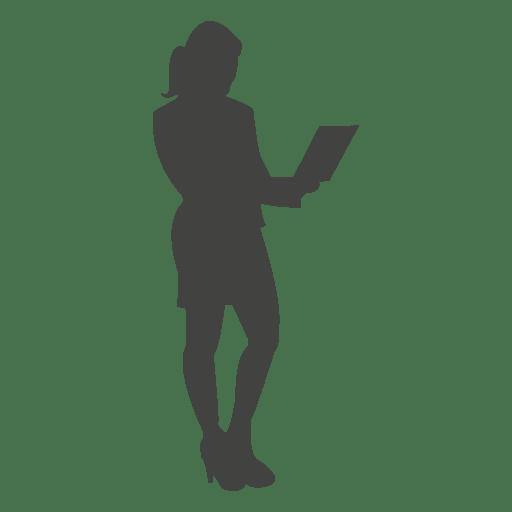 Mujer de negocios posición con computador portatil Transparent PNG