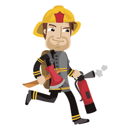 Busy fireman cartoon