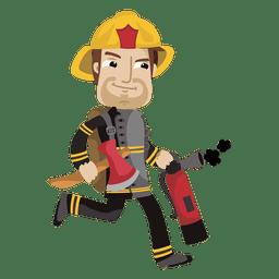 Desenhos animados de bombeiro ocupado