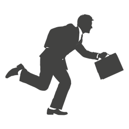 Busy running businessman silhouette