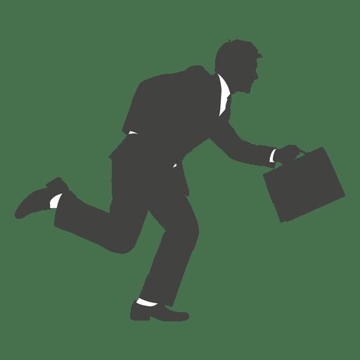 Silhueta de empresário ocupada correndo Transparent PNG