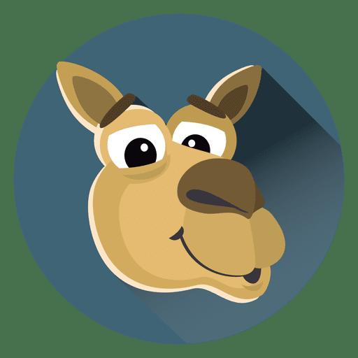 Camel cartoon circle icon