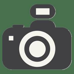 Ícone de câmera plana com flash