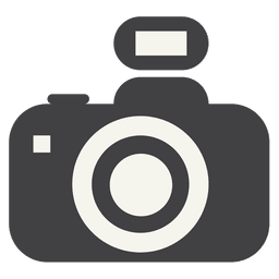 Icono de cámara plana con flash