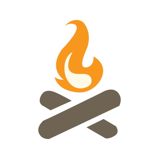 Camp fire icon with wood logs Transparent PNG