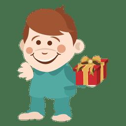 Niño de dibujos animados con caja de regalo