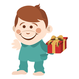 Rapaz dos desenhos animados segurando giftbox