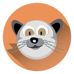 Cat cartoon circle icon