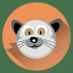 Icono de círculo de dibujos animados de gato