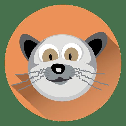 Cat cartoon circle icon